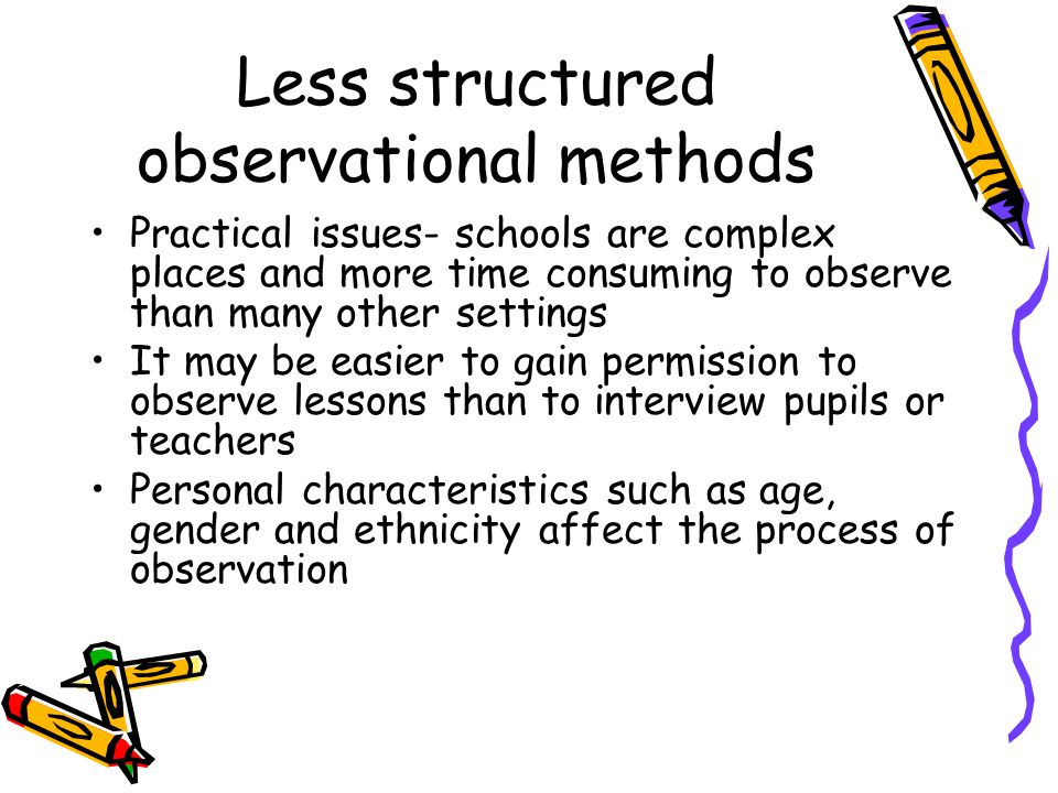 Less structured observational methods Practical issues- schools are complex places and more time consuming to observe than many other settings It may be easier to gain permission to observe lessons than to interview pupils or teachers Personal characteristics such as age, gender and ethnicity affect the process of observation