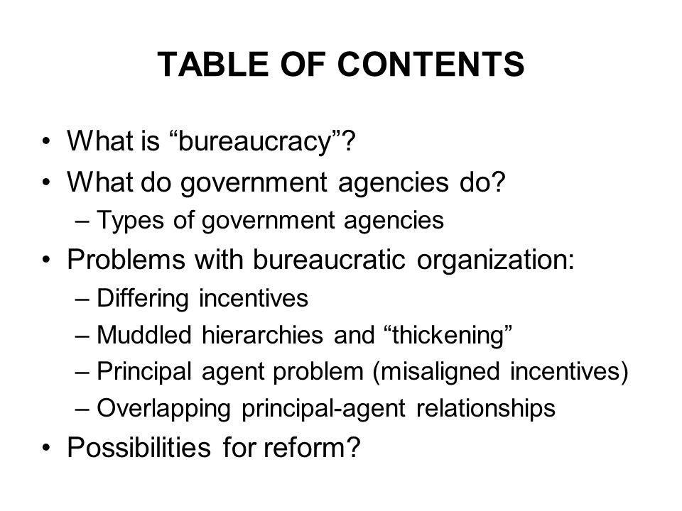 TABLE OF CONTENTS What is bureaucracy . What do government agencies do.