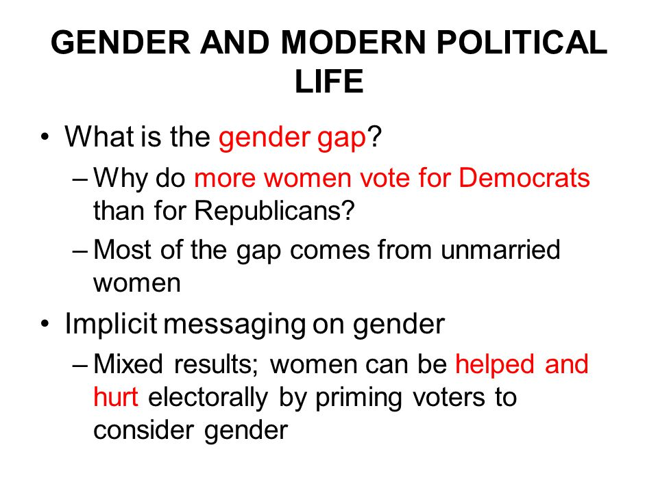 GENDER AND MODERN POLITICAL LIFE What is the gender gap.