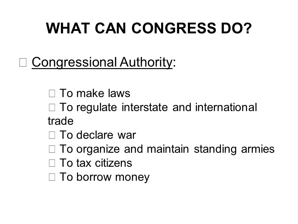 WHAT CAN CONGRESS DO.