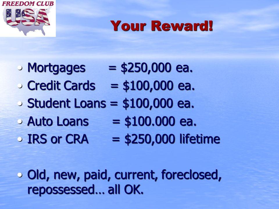 Your Reward. Mortgages = $250,000 ea.Mortgages = $250,000 ea.