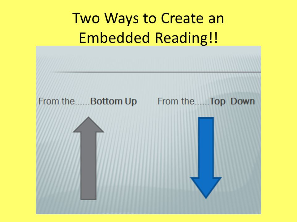 Two Ways to Create an Embedded Reading!!