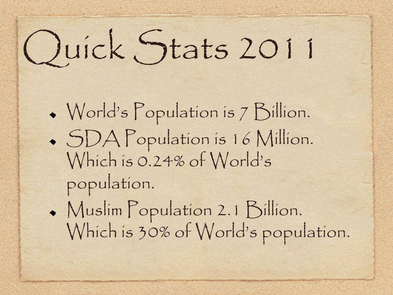Quick Stats 2011 World's Population is 7 Billion. SDA Population is 16 Million.