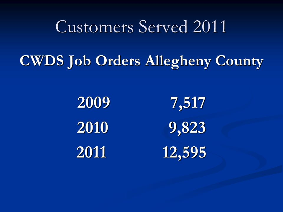 Customers Served 2011 CWDS Job Orders Allegheny County 2009 7,517 2010 9,823 2011 12,595