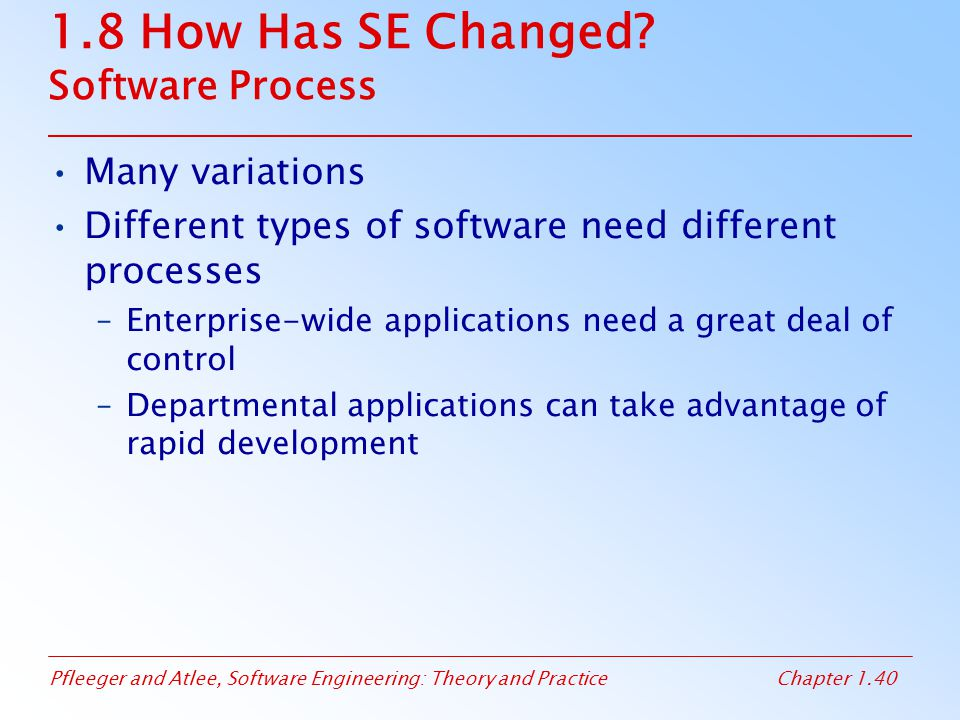 Pfleeger and Atlee, Software Engineering: Theory and PracticeChapter 1.40 1.8 How Has SE Changed? Software Process Many variations Different types of
