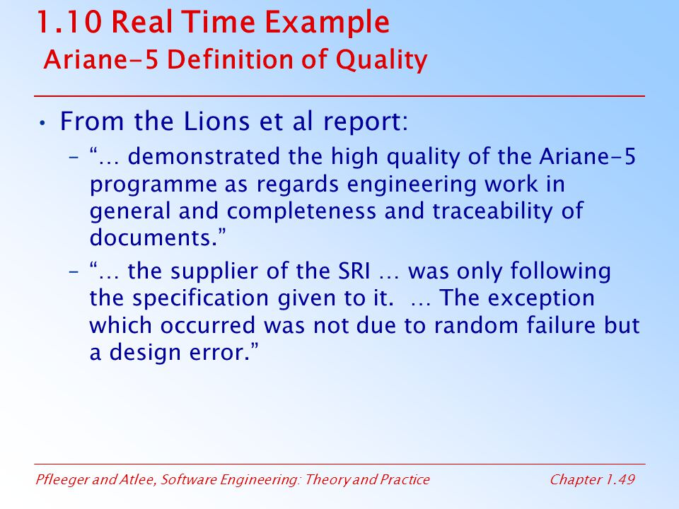 Pfleeger and Atlee, Software Engineering: Theory and PracticeChapter 1.49 1.10 Real Time Example Ariane-5 Definition of Quality From the Lions et al r