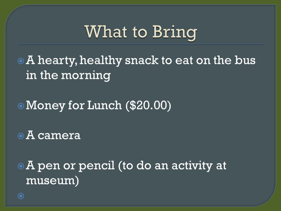  A hearty, healthy snack to eat on the bus in the morning  Money for Lunch ($20.00)  A camera  A pen or pencil (to do an activity at museum) 