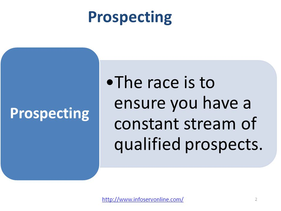 Scientific Selling Prospecting Planning Persistence Passion Positive Outlook 5 P's of Successful Selling 1 http://www.infoservonline.com/