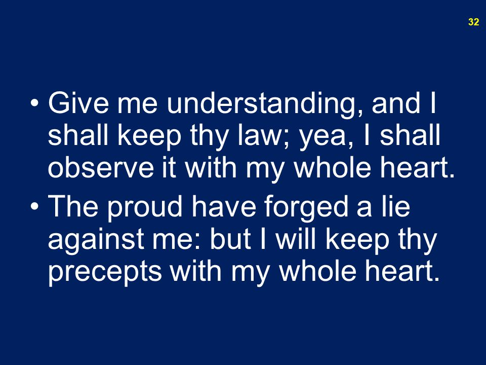 Give me understanding, and I shall keep thy law; yea, I shall observe it with my whole heart.
