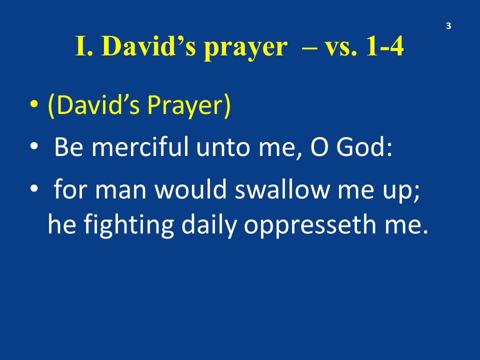 I. David's prayer – vs.
