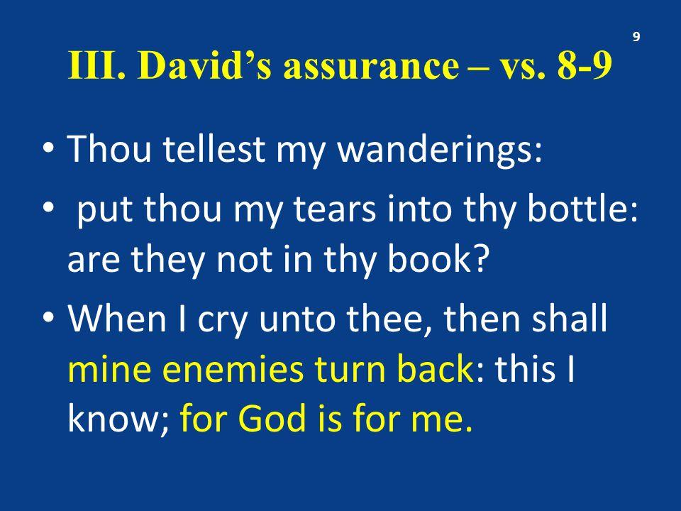 III. David's assurance – vs.