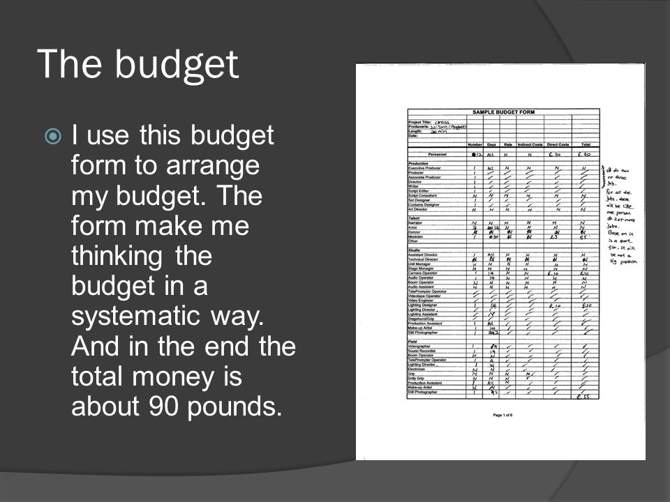 The budget  I use this budget form to arrange my budget.