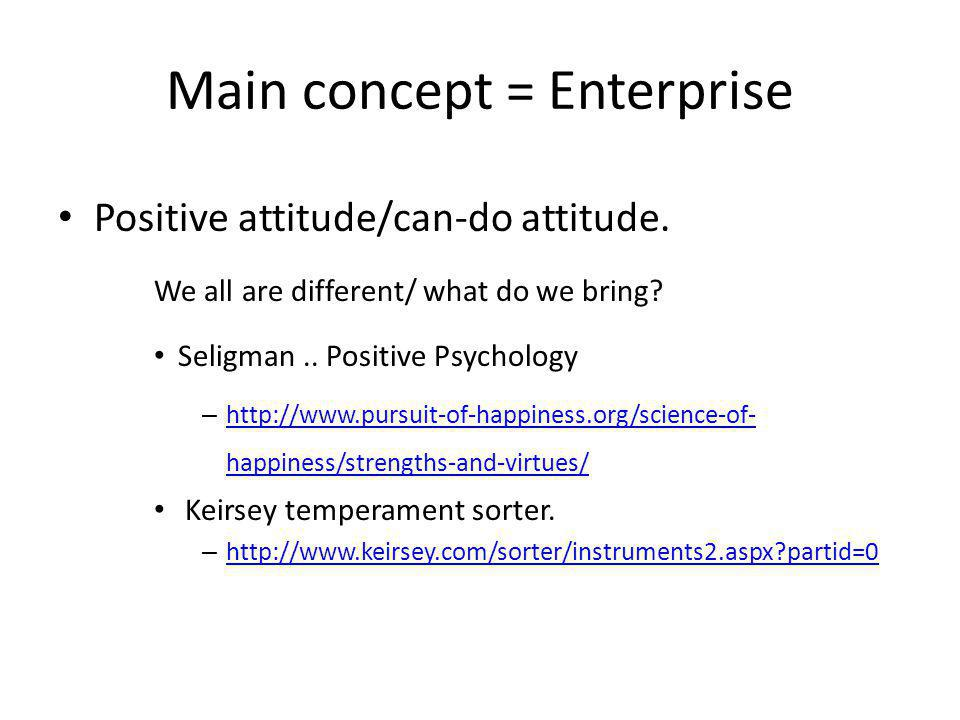 Main concept = Enterprise Positive attitude/can-do attitude.