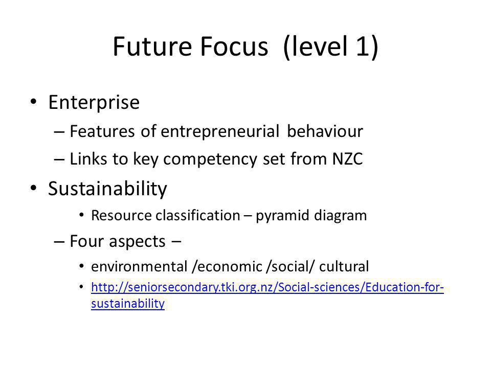 Future Focus (level 1) Enterprise – Features of entrepreneurial behaviour – Links to key competency set from NZC Sustainability Resource classification – pyramid diagram – Four aspects – environmental /economic /social/ cultural http://seniorsecondary.tki.org.nz/Social-sciences/Education-for- sustainability http://seniorsecondary.tki.org.nz/Social-sciences/Education-for- sustainability