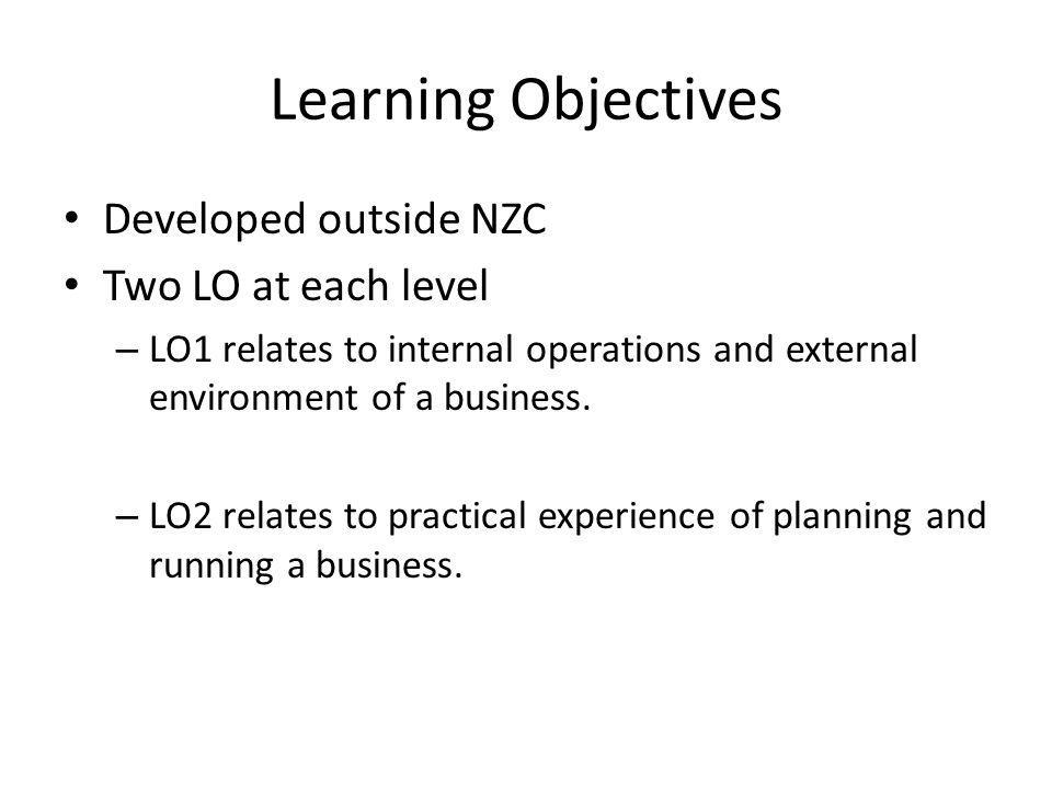 Learning Objectives Developed outside NZC Two LO at each level – LO1 relates to internal operations and external environment of a business.