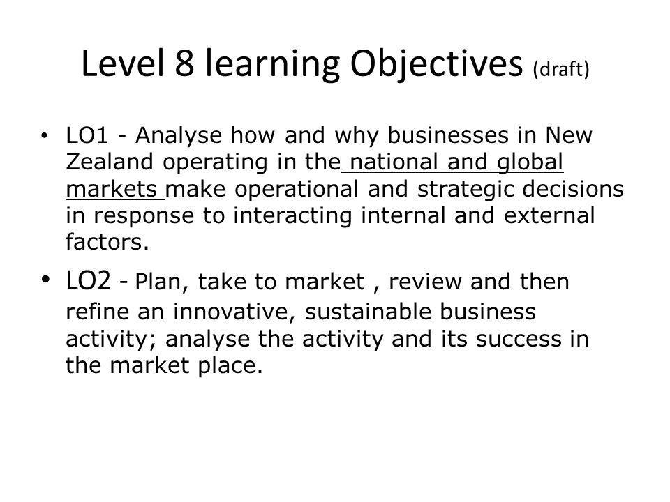 Level step ups LevelFuture focusContextAssessments 6 Enterprise Sustainability Small business Local business 3 external (3x4=12 credits) 3 internal (2x3 = 6) Carry out business (1x6= 6) 7 Enterprise Sustainability Citizenship Regional or national significance 3 external (3x4 = 12 credits) 3 internal (2 x 3 = 6) Carry out & refine (1x9 = 9) 8 Enterprise Sustainability Citizenship Globalisation International / global operation 3 external (3x4 = 12 credits) 4 internal (3x3=9) Carry out innovative&sustainable (1X9=9)