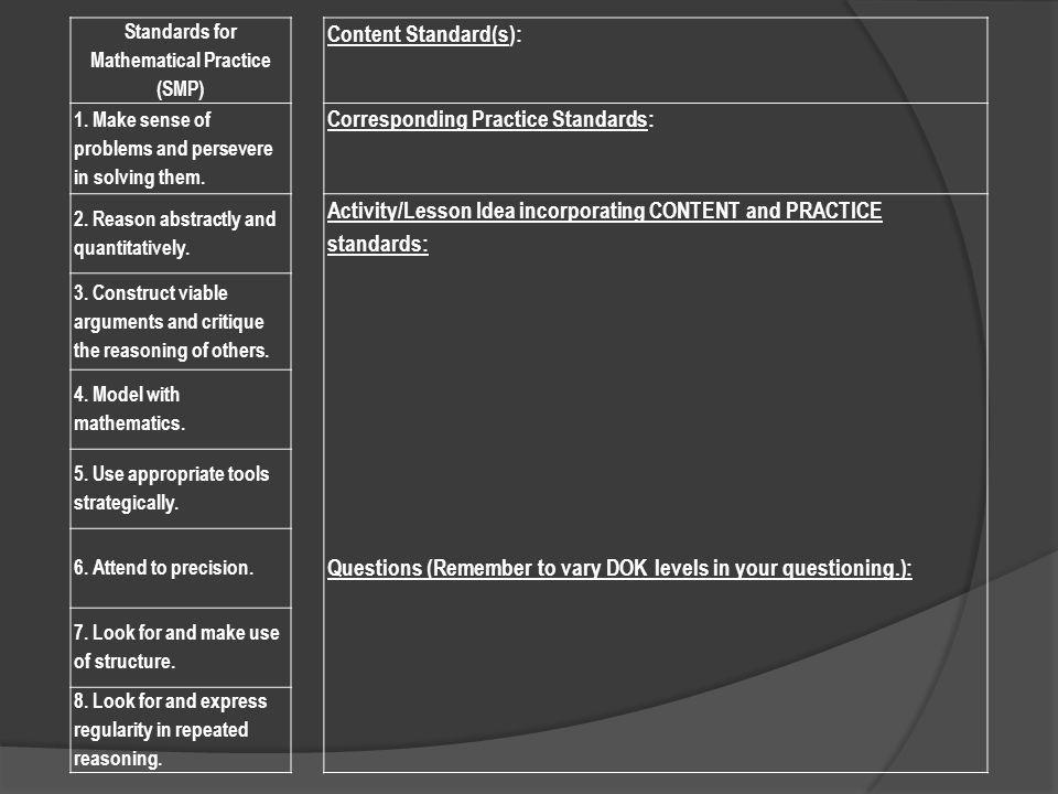 Standards for Mathematical Practice (SMP) Content Standard(s): 1.