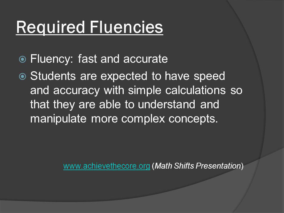 Required Fluencies  Fluency: fast and accurate  Students are expected to have speed and accuracy with simple calculations so that they are able to understand and manipulate more complex concepts.