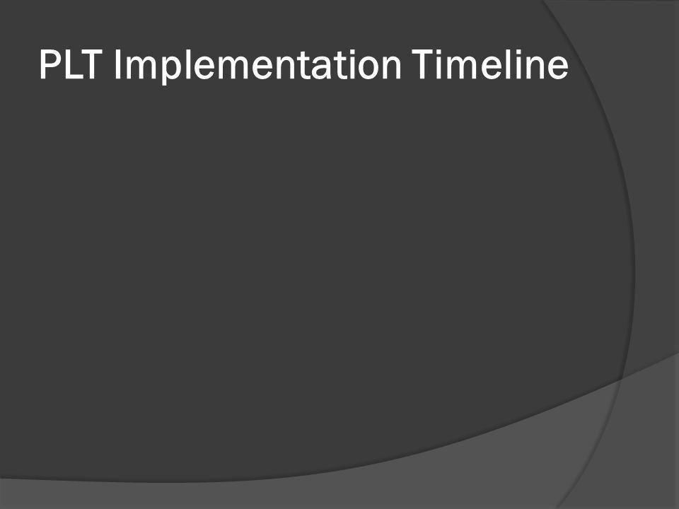 PLT Implementation Timeline