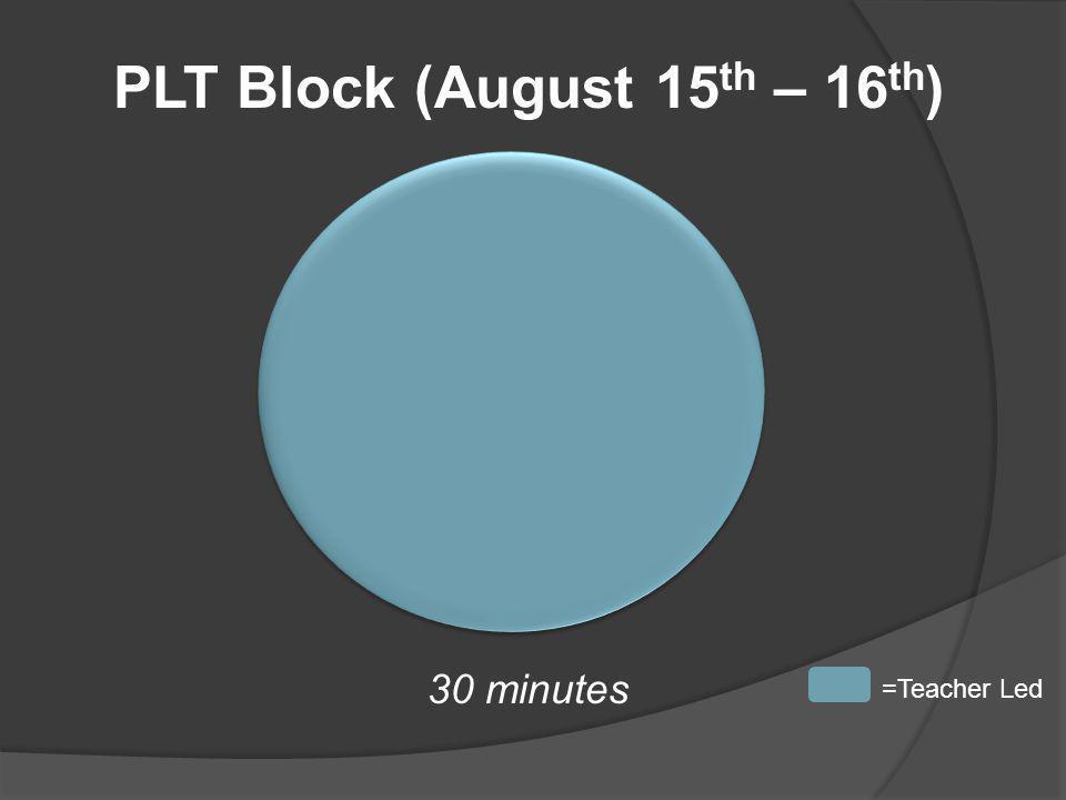 PLT Block (August 15 th – 16 th ) 30 minutes =Teacher Led