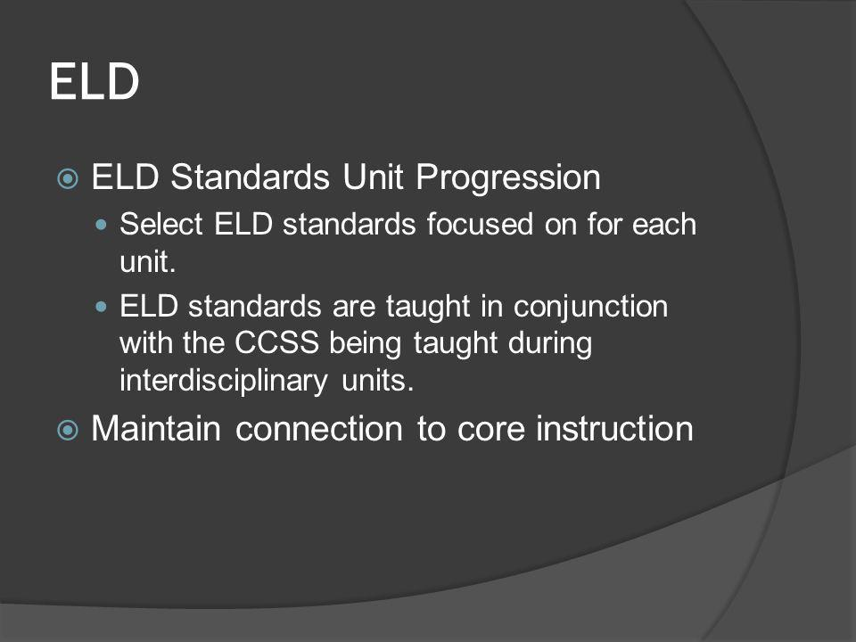 ELD  ELD Standards Unit Progression Select ELD standards focused on for each unit. ELD standards are taught in conjunction with the CCSS being taught