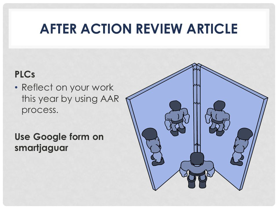 AFTER ACTION REVIEW ARTICLE PLCs Reflect on your work this year by using AAR process.