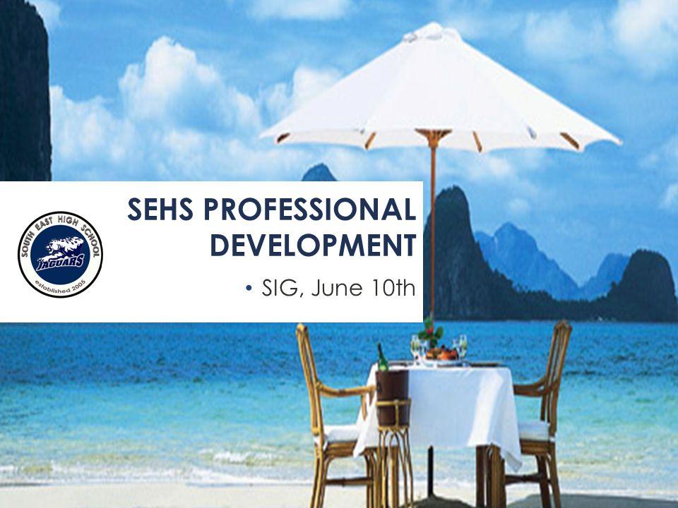 SIG, June 10th SEHS PROFESSIONAL DEVELOPMENT