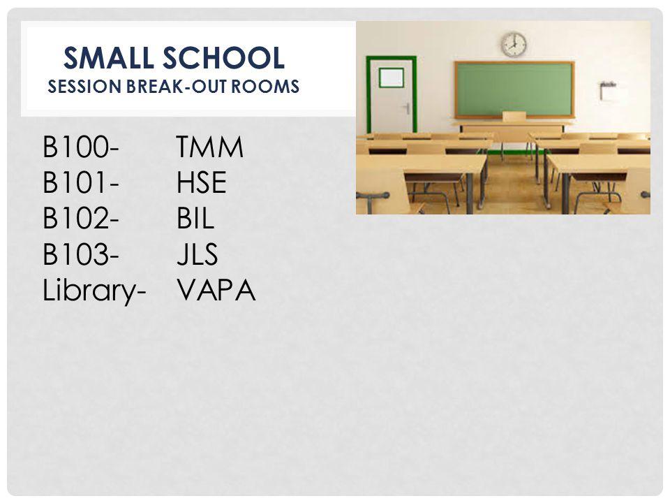 SMALL SCHOOL SESSION BREAK-OUT ROOMS B100-TMM B101- HSE B102-BIL B103-JLS Library- VAPA
