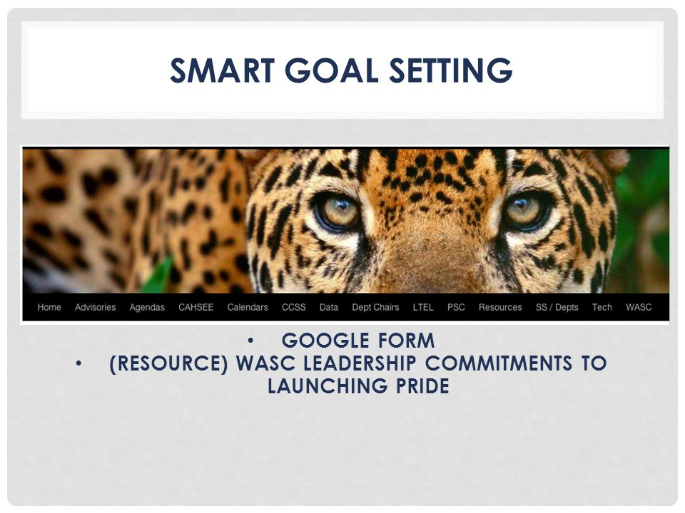 SMART GOAL SETTING GOOGLE FORM (RESOURCE) WASC LEADERSHIP COMMITMENTS TO LAUNCHING PRIDE