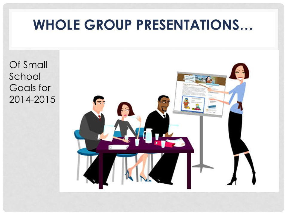 WHOLE GROUP PRESENTATIONS… Of Small School Goals for 2014-2015
