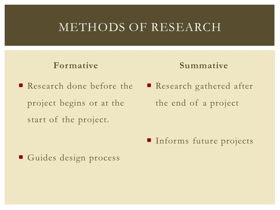 Formative  Research done before the project begins or at the start of the project.  Guides design process Summative  Research gathered after the en