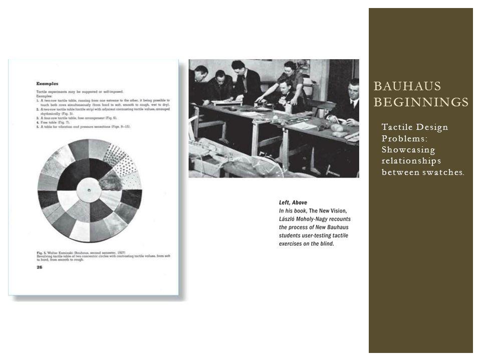 Tactile Design Problems: Showcasing relationships between swatches. BAUHAUS BEGINNINGS