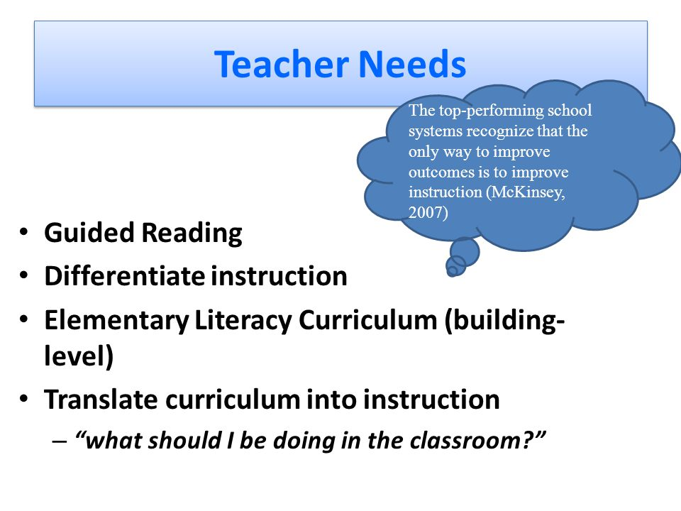Teacher Needs Guided Reading Differentiate instruction Elementary Literacy Curriculum (building- level) Translate curriculum into instruction – what should I be doing in the classroom The top-performing school systems recognize that the only way to improve outcomes is to improve instruction (McKinsey, 2007)