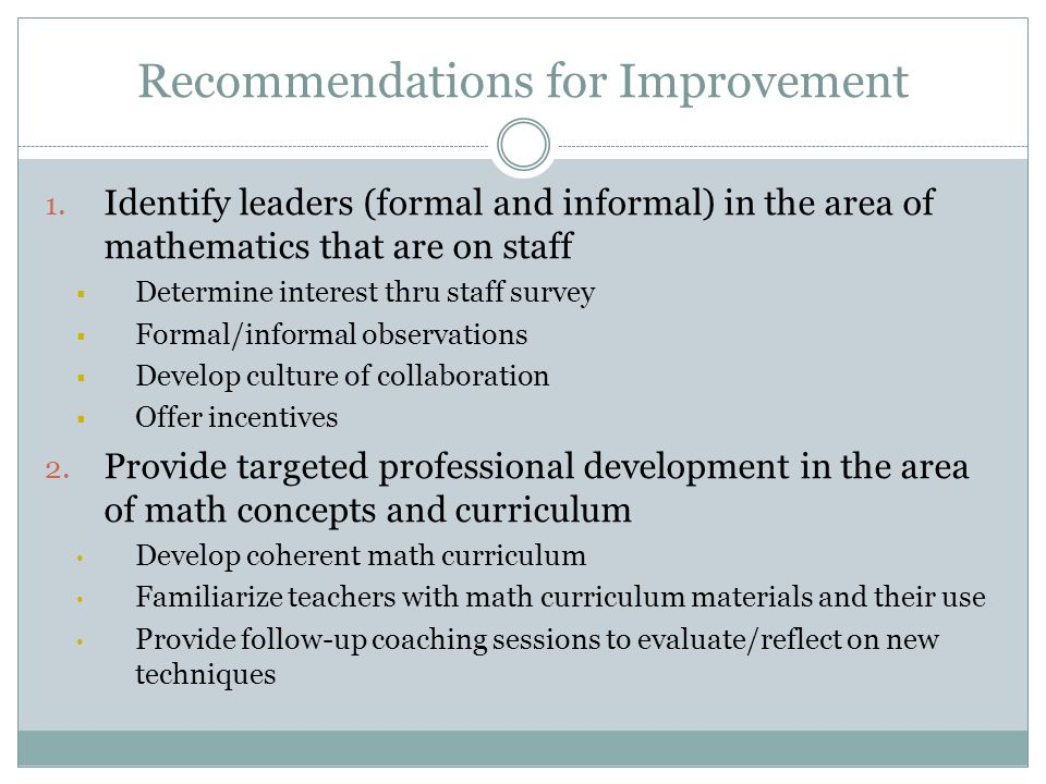 Recommendations continued 3.