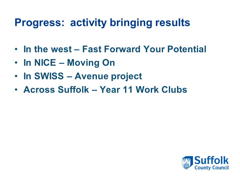 Progress: activity bringing results In the west – Fast Forward Your Potential In NICE – Moving On In SWISS – Avenue project Across Suffolk – Year 11 Work Clubs