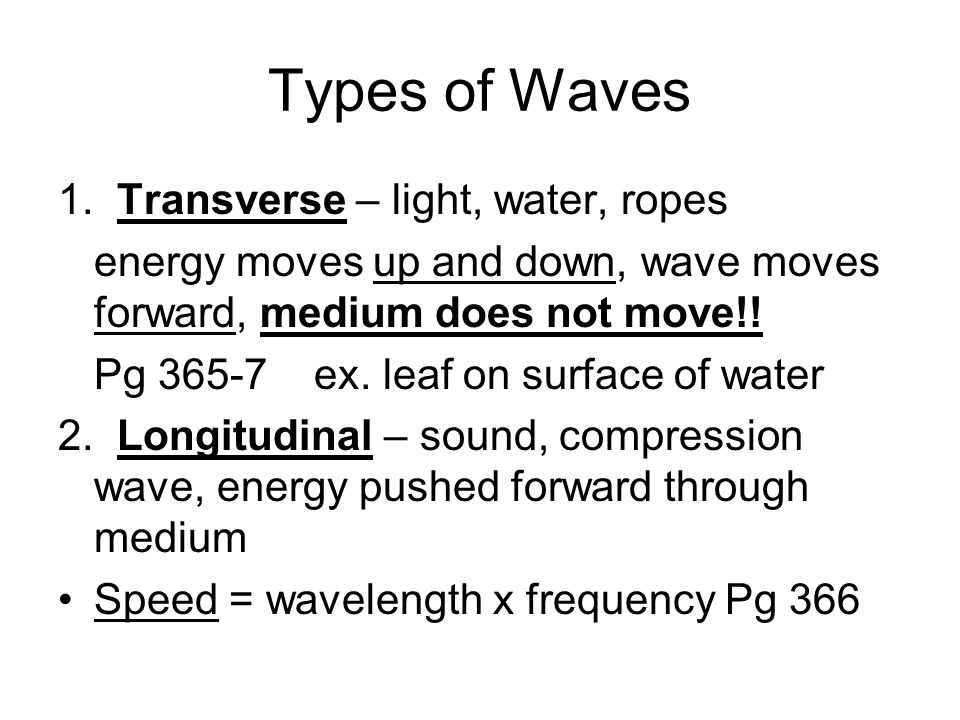 Types of Waves 1.