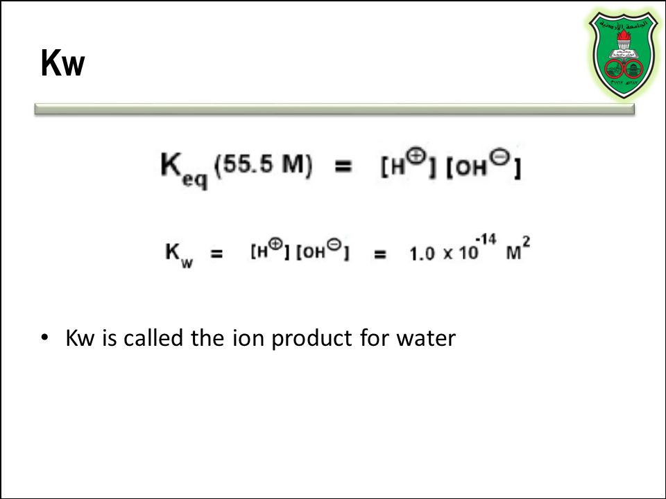 Kw Kw is called the ion product for water