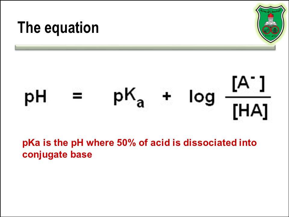 The equation pKa is the pH where 50% of acid is dissociated into conjugate base