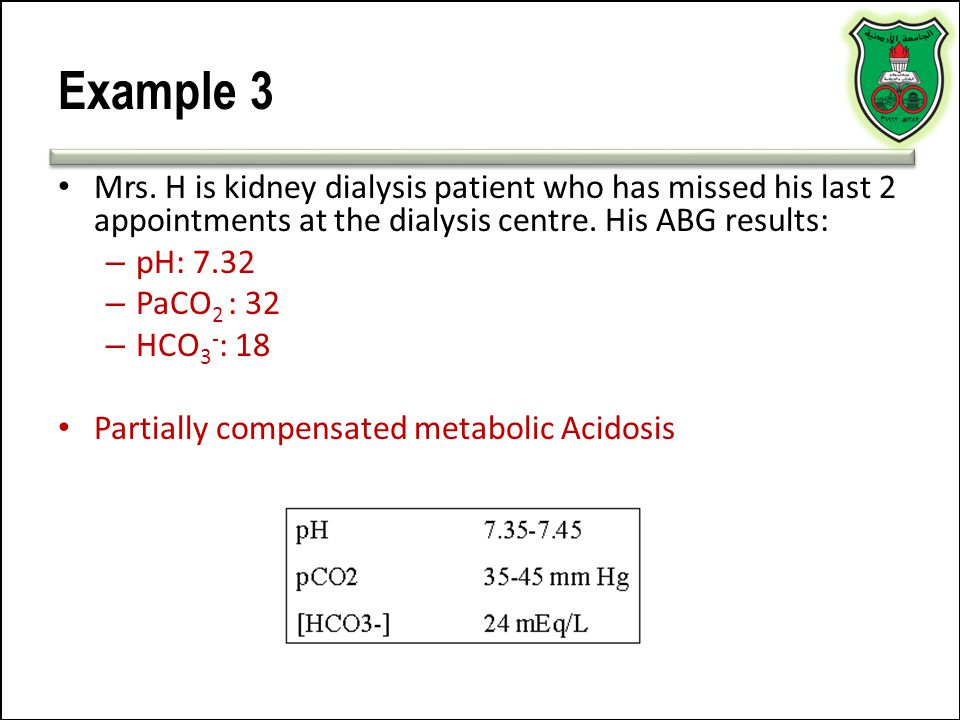 Example 3 Mrs. H is kidney dialysis patient who has missed his last 2 appointments at the dialysis centre. His ABG results: – pH: 7.32 – PaCO 2 : 32 –