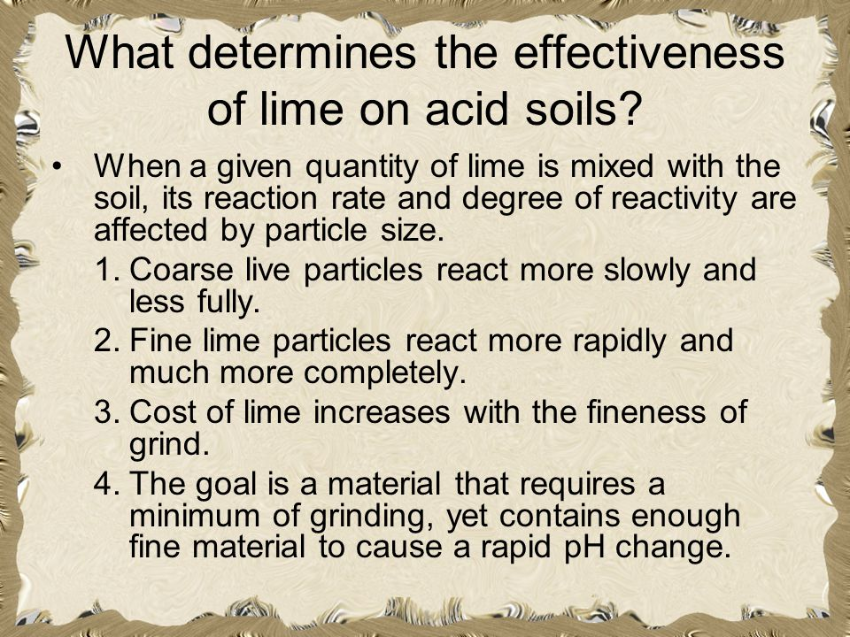 What determines the effectiveness of lime on acid soils? When a given quantity of lime is mixed with the soil, its reaction rate and degree of reactiv