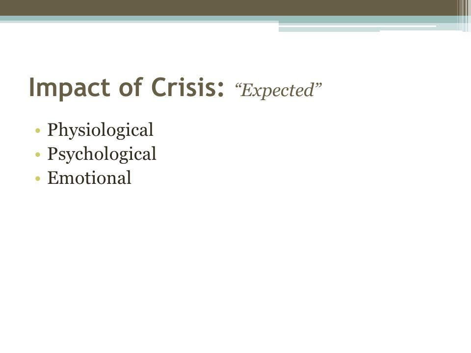 Impact of Crisis: Expected Physiological Psychological Emotional