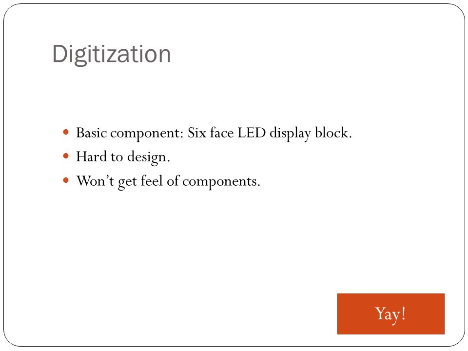 Digitization Basic component: Six face LED display block.