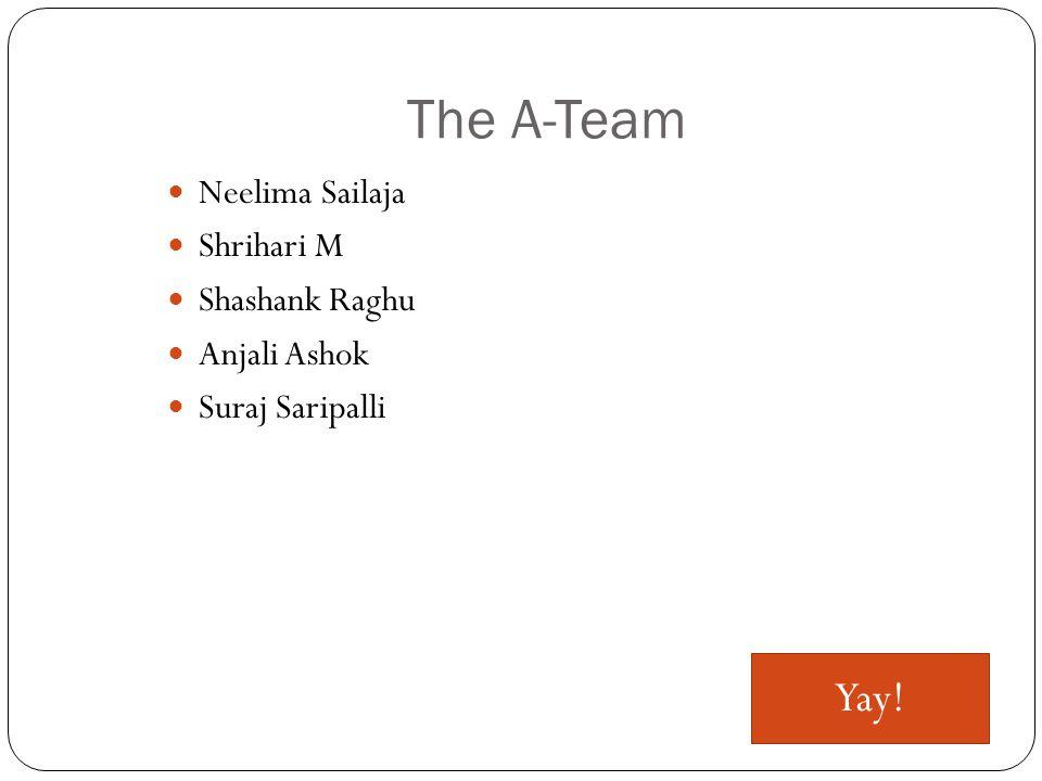 The A-Team Neelima Sailaja Shrihari M Shashank Raghu Anjali Ashok Suraj Saripalli Yay!