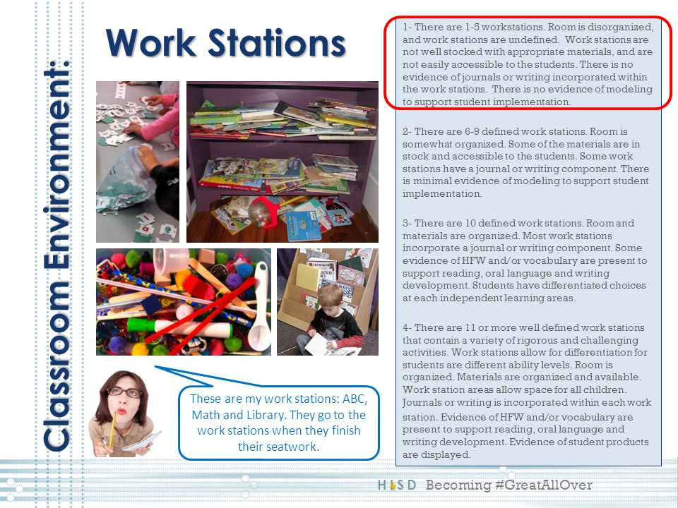 HISD Becoming #GreatAllOver 1- There are 1-5 workstations. Room is disorganized, and work stations are undefined. Work stations are not well stocked w