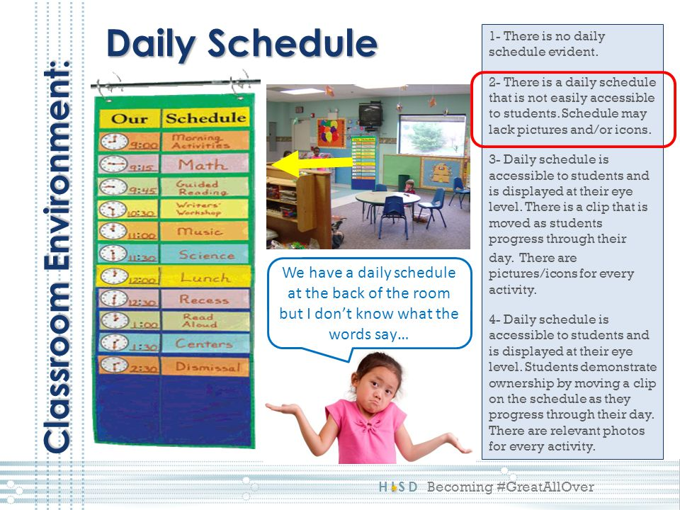 HISD Becoming #GreatAllOver 1- There is no daily schedule evident. 2- There is a daily schedule that is not easily accessible to students. Schedule ma
