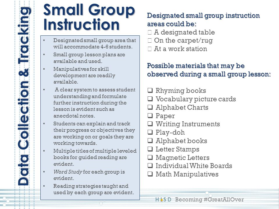 HISD Becoming #GreatAllOver Designated small group area that will accommodate 4-6 students. Small group lesson plans are available and used. Manipulat