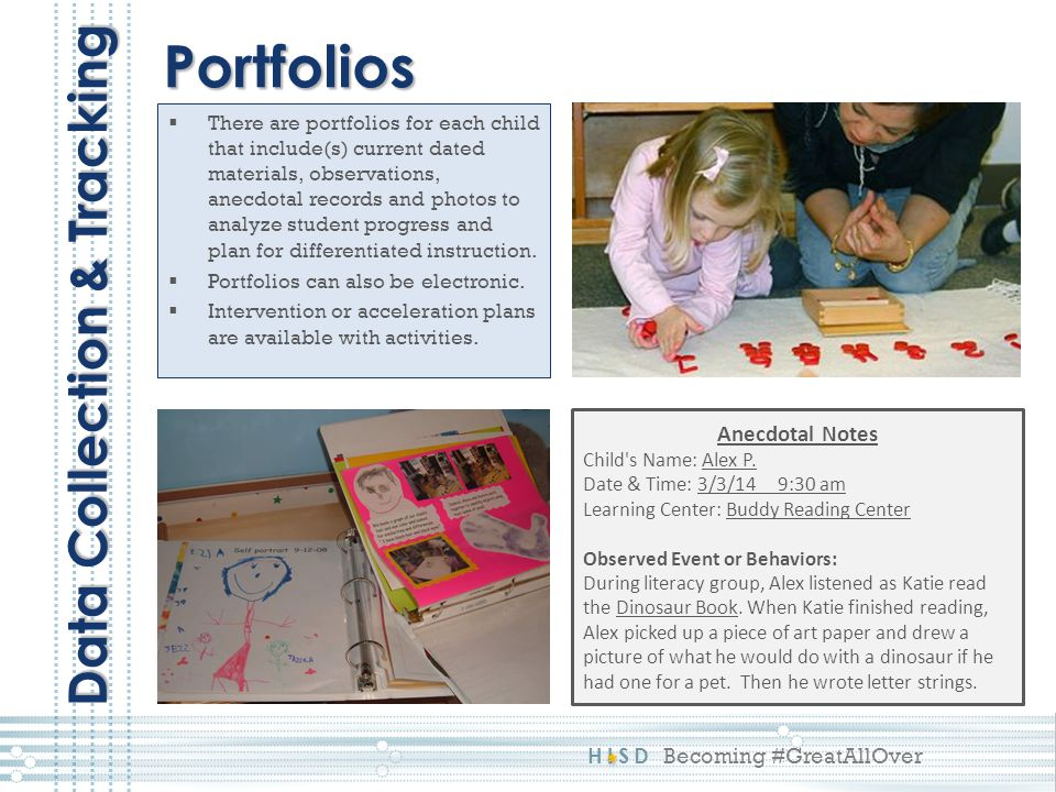 HISD Becoming #GreatAllOver  There are portfolios for each child that include(s) current dated materials, observations, anecdotal records and photos to analyze student progress and plan for differentiated instruction.