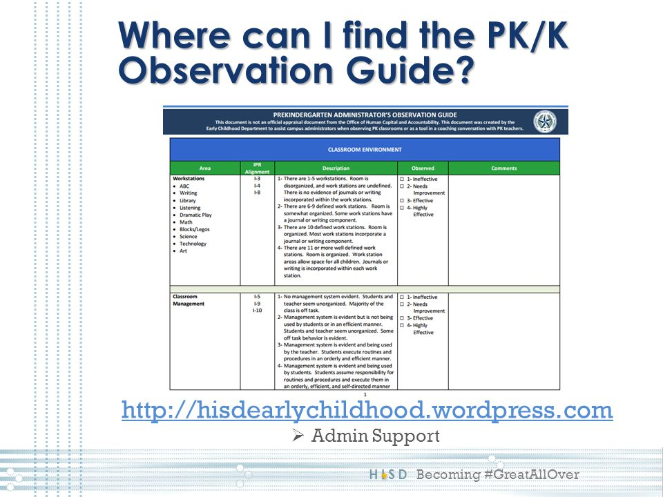HISD Becoming #GreatAllOver Where can I find the PK/K Observation Guide.