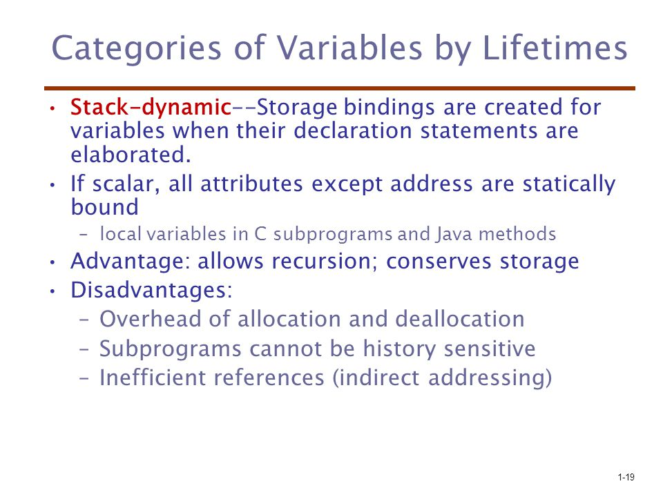 1-19 Categories of Variables by Lifetimes Stack-dynamic--Storage bindings are created for variables when their declaration statements are elaborated.