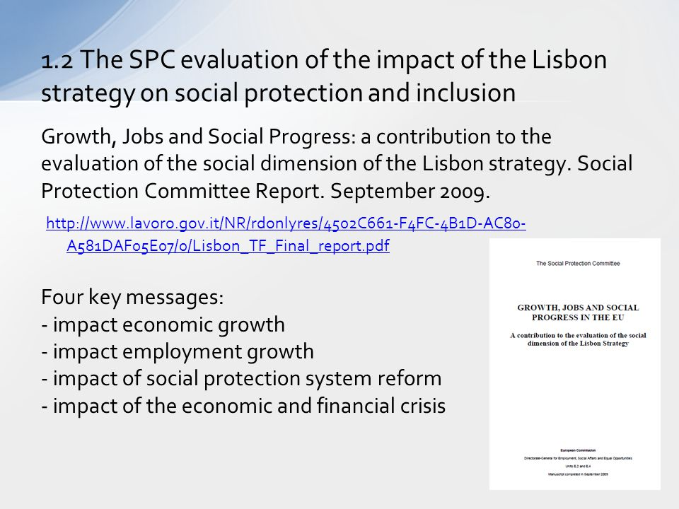 Growth, Jobs and Social Progress: a contribution to the evaluation of the social dimension of the Lisbon strategy. Social Protection Committee Report.